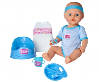 New Born Baby Babypuppe, Blaues Zubehör