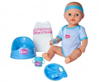 NEW BORN BABY POUPON BLEU 43CM BOIT FAIT PIPI