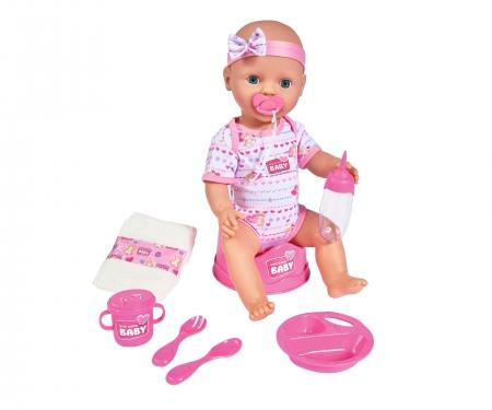 New Born Baby Babypuppe, Rosa Zubehör