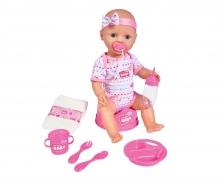 NEW BORN BABY POUPON ROSE 43CM BOIT FAIT PIPI