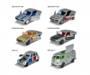 6 Pieces Set - Vintage Deluxe Cars with metal chassis and tin box