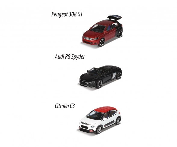 3er Set - Peugeot 308 GT / Audi R8 Spyder / Citroën C3