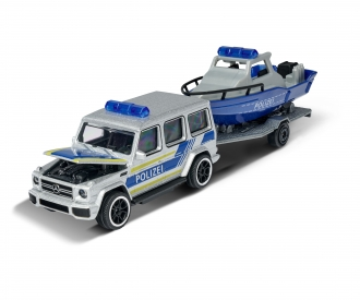 Mercedes-AMG G 63 with police boat and trailer