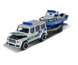 Mercedes-AMG G 63 mit Polizei Boot und Anhänger