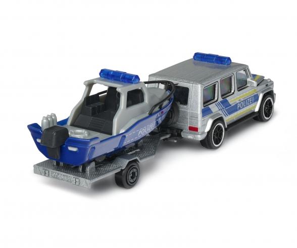Mercedes-AMG G 63 mit Polizeiauto mit Polizeiboot und Anhänger