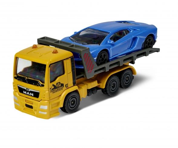 Majorette City Small Set MAN TGA Tow Truck with Porsche