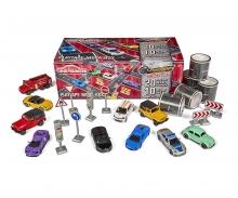 Playtape Geschenkset 10 Autos + 20 Meter Straßenklebeband + Verkehrsschilder