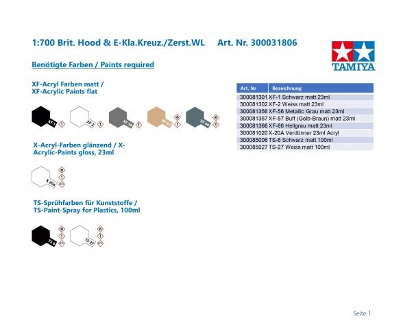 1:700 Brit Hood & E Class Destroyer WL