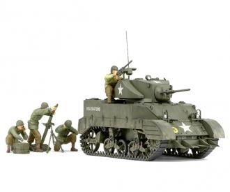 1:35 WWII US M5A1 Light Tank w/Mrtar (4)