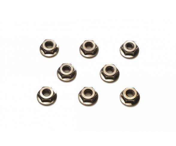 TRF Radmuttern 4mm geriffelt (8) schwarz