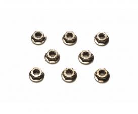 4mm Serrated Whl Nut Bla*8