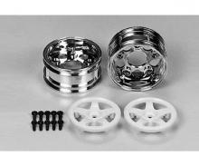 1:10 Wheels (2) 5-Spoke Chr./white 26mm