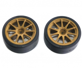 Drift Tires Type D w/Wheels gold 26mm(2)