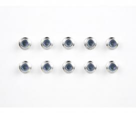 4mm Alum. Flanged Lock Nut silver (10)