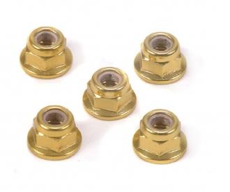 4mm Alum. Flanged Lock Nut Gold Anod.(5)