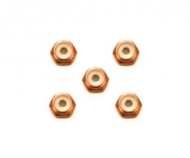 2mm Alu. Lock Nut (5) Orange