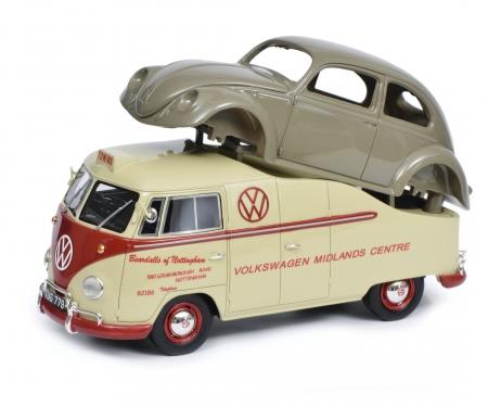 "VW T1a ""Midlands Centre"" mit Brezelkäfer Karosserie, 1:18"