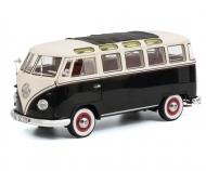 VW T1b Samba, schwarz-weiß, 1:18
