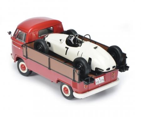 "VW T1b pick-up Westfalia ""Porsche"" with Formela Vau racing car 1:18"