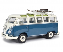 "VW T1b Samba ""Wintersport"", blue white, 1:18"