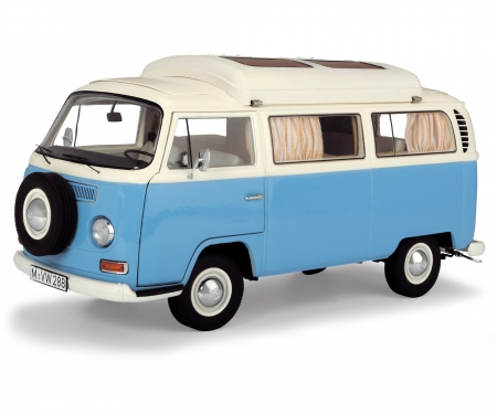 VW T2a camping bus, blue white, 1:18