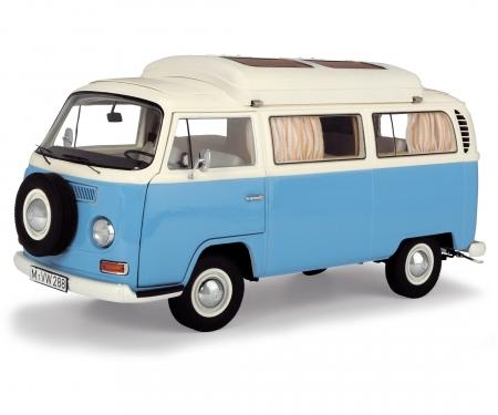 VW T2a Campingbus, neptunblau-weiß, 1:18