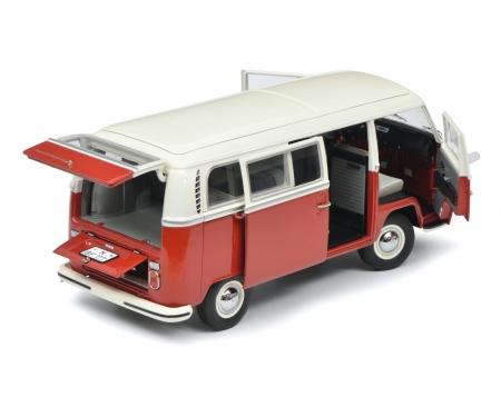 VW T2a Bus L, rot-weiß, 1:18