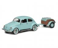 VW Käfer Ovali mit Hänger Westfalia, türkis, 1:43