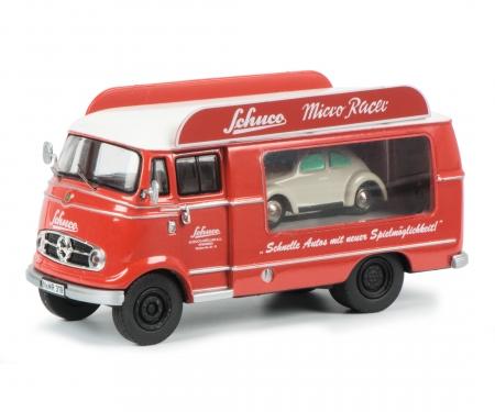 """Mercedes-Benz L319 Werbewagen """"Schuco Micro Racer"""" mit Piccolo VW Käfer 1:43"""