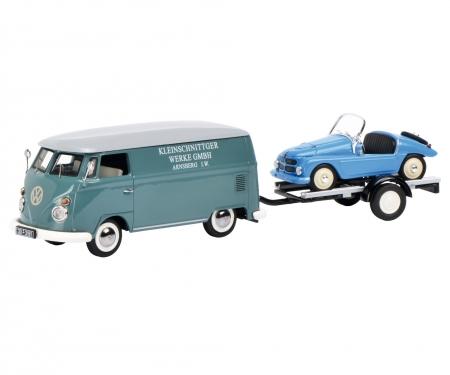 """VW T1c Kastenwagen """"Kleinschnittger"""" mit Autoanhänger und Kleinschnittger F125 1:43"""