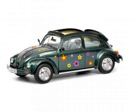 """VW Käfer Open Air """"Blumen-Dekor"""", grün 1:43"""