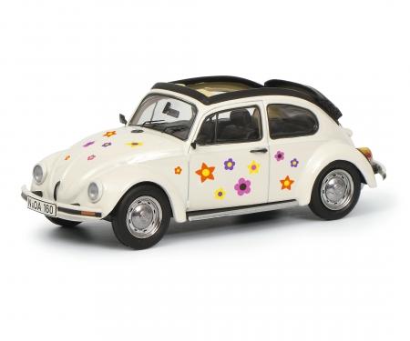 "VW Käfer Open Air ""Blumen-Dekor"", weiß 1:43"