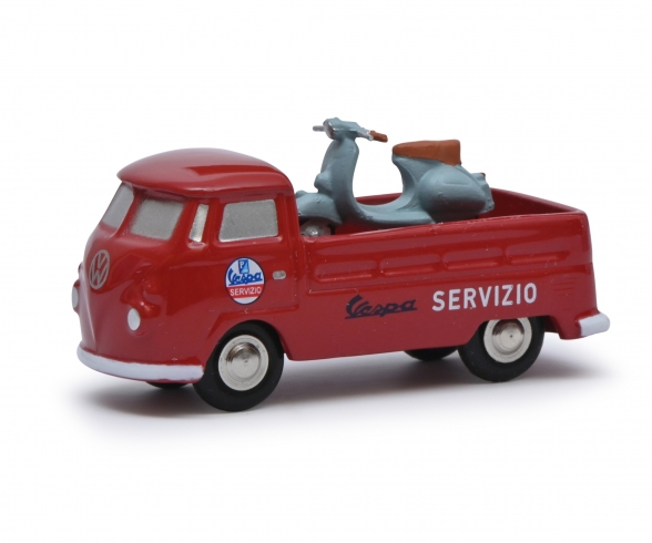 Pic.VW T1 pickup VESPA SERV. red