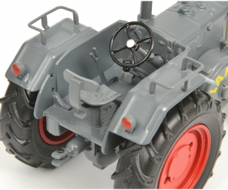 Lanz Bulldog with hay trailer, grey, 1:32
