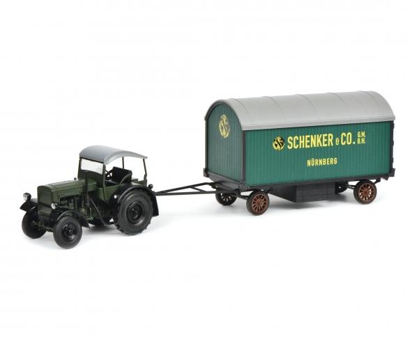 "Deutz F3 with top and trailer ""Schenker"", 1:32"