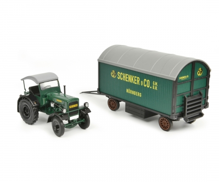 "Deutz F3 with top and trailer ""Schenker"", 1:32"