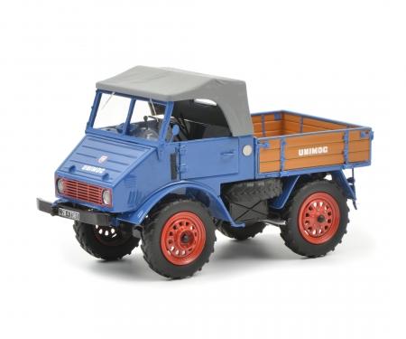 Mercedes-Benz Unimog U401 mit Holzpritsche, blau, 1:32