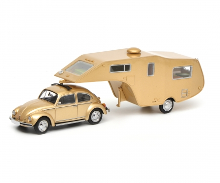 VW Käfer 1200 with caravan trailer, 1:43