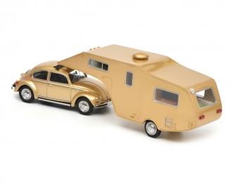 VW Käfer 1200 with caravan trailer, 1:43