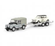 Land Rover I mit Autoanhänger und Mini, 1:87