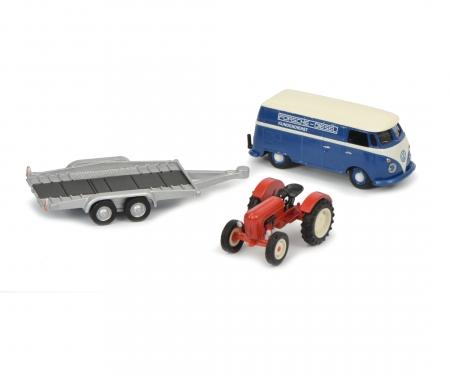 VW T1c Kastenwagen mit Autoanhänger und Porsche Junior, 1:87