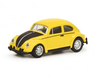 VW Beetle, yellow black, 1:87