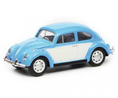 VW Beetle, blue white, 1:87