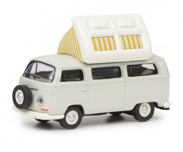 VW T2a Camping Bus mit geöffnetem Dach, grau weiß, 1:87
