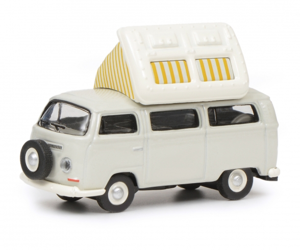 VW T2a Camping Bus with open roof, grey white, 1:87