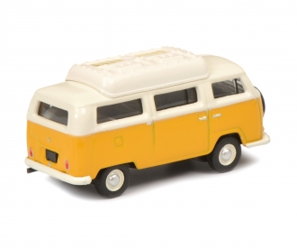 VW T2a camping bus with closed roof, yellow white, 1:87
