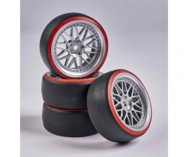 1:10 Wheel Set Drift (4) silver/red