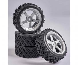 1:10 Wheel Set 5 spk. Rallye (4) silver