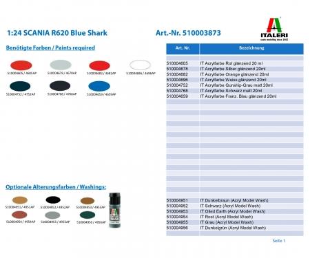1:24 SCANIA R620 Blue Shark