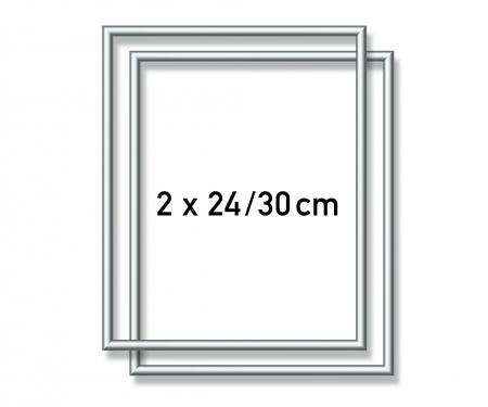 2 Alurahmen 24 x 30 cm – Silber matt